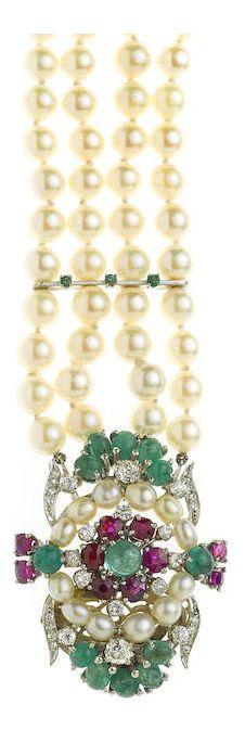 Hochzeit - A Cultured Pearl, Ruby, Emerald And Diamond Multi-strand Strand Bracelet Cultured Pearls Measuring Approximately: 6.4 To 3.8mm; Est…