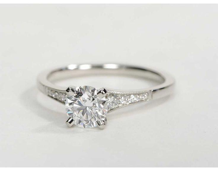 زفاف - 0.82 Ct. Center Diamond Graduated Milgrain Diamond Engagement Ring
