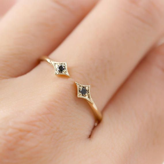 Свадьба - Double Black Diamond Ring, Double Star Ring, Black Diamond Open Ring, 14k Gold, Rose Gold, White Gold, Platinum Wedding Band
