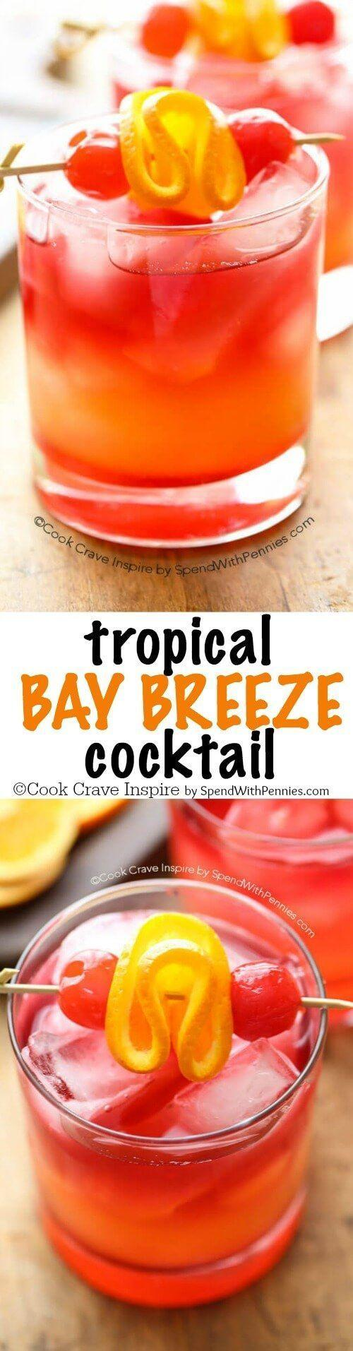 Hochzeit - This Easy To Make Tropical Bay Breeze Cocktail Is A Taste Of The Tropics With Flavors Of Pineapple And Coconut Rum. (Plus The Easy…