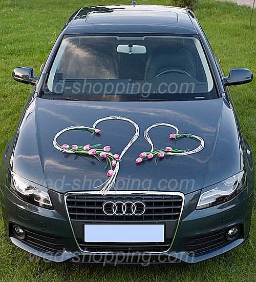 Wedding - Wedding Car Decoration Kit Tulip And Rattan Hearts