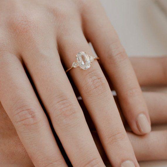 Hochzeit - White Sapphire Engagement Ring