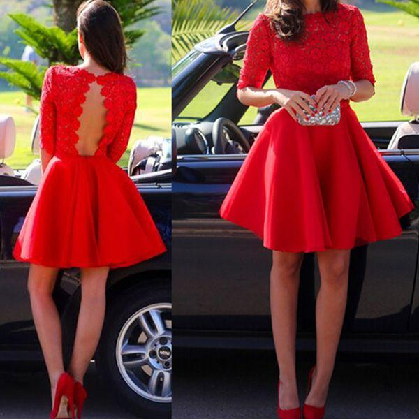 Mariage - Classy Prom Dresses,Red A-line Bateau Short Mini Chiffon