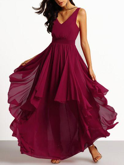 Свадьба - Burgundy Deep V Neck Maxi Chiffon Dress