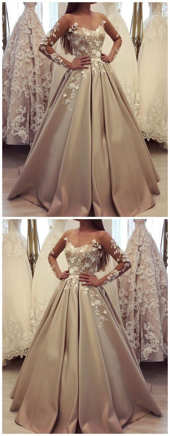 Wedding - Generous Long Sleeve Ball Gown Champagne Prom Dresses, Luxury Lace Wedding Dress For Bridal M2861