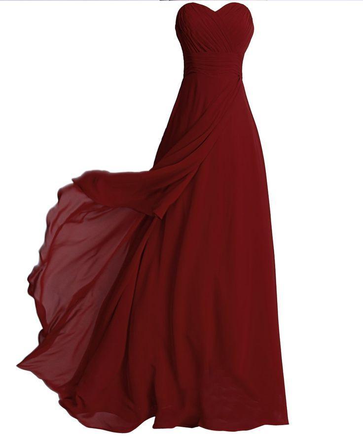 Wedding - Fashion Plaza Chiffon Ohne Träger Langer Abendkleid Modul D072 (EU36, Dunkel Rot)