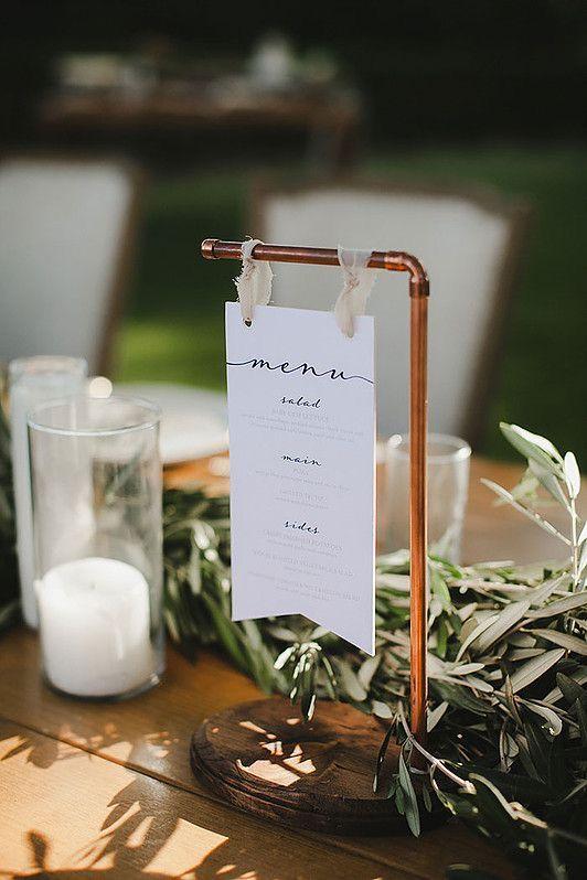 Hochzeit - #copperweddingsign #menucard #industrialwedding #tablenumber