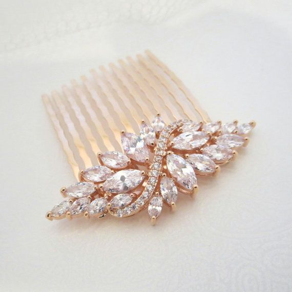 Mariage - Rose Gold Hair Comb, Wedding Hair Comb, Crystal Hair Comb, Bridal Headpiece, Hair Clip, Hair Pin, Rhinestone Hair Accessory, Hair Piece