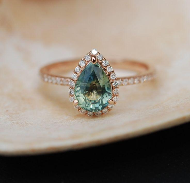 Wedding - Rose Gold Engagement Ring Teal Blue Green Sapphire Pear Cut Halo Engagement Ring 14k Rose Gold