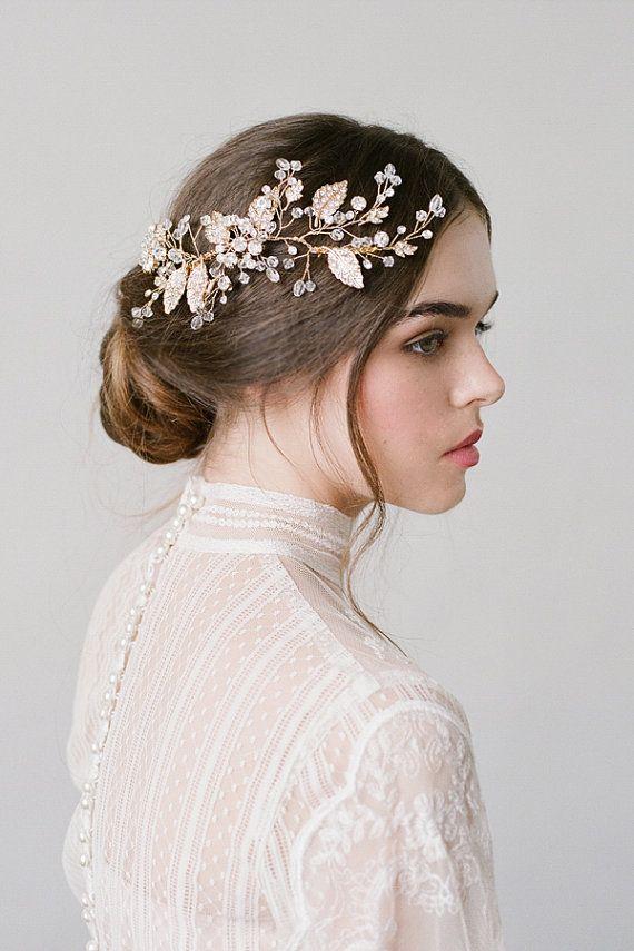 Hochzeit - Wedding Hair Piece,Gold Bridal Comb,Bridal Headpiece,Gold Floral Hair Comb,Headpiece,Wedding Accessories,Gold Headpiece,Head Comb…