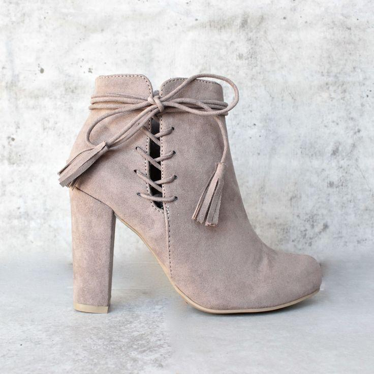 Wedding - Tassel Lace Up Side Ankle Boots - Taupe