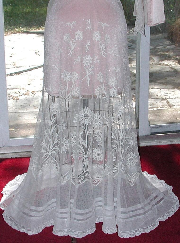 Wedding - No. 500 ANTIQUE (1910) Edwardian Tambour Lace Bridal Skirt, Excellent Condition