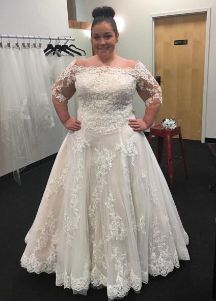 Hochzeit - Modest Bateau Neck 2016 Plus Size Wedding Dresses Cheap Applique ...
