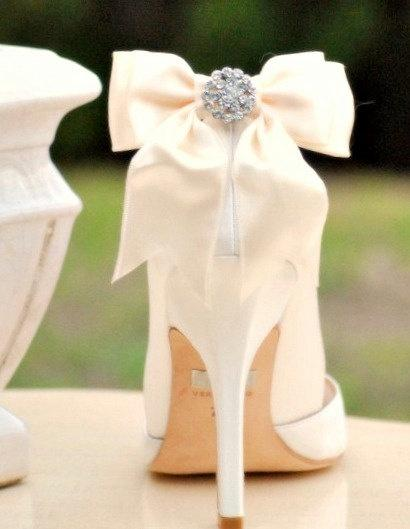 Wedding - Ivory / White / Black / Nude Sparkly Bow Shoe Clips. Spring Bride Bridesmaid Wedding Big Day, Chic Stylish Couture Gift, Also: Blue Sage Red