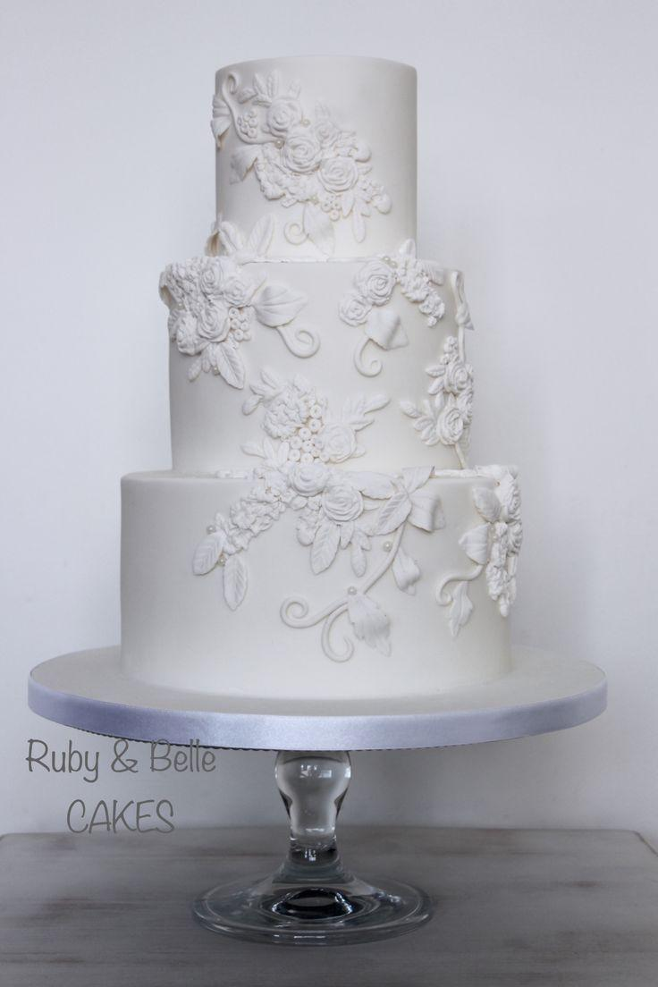 Hochzeit - Elegant & Timeless Bas Relief Wedding Cake. Created By Ruby & Belle Cakes, Brighton, UK