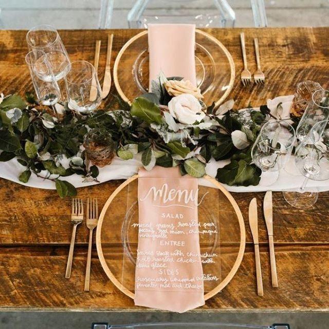 Wedding - Wedding Table Decor With An Acrylic Wedding Menu And Gold Accents #weddingtable #weddingmenu #weddingtabled…