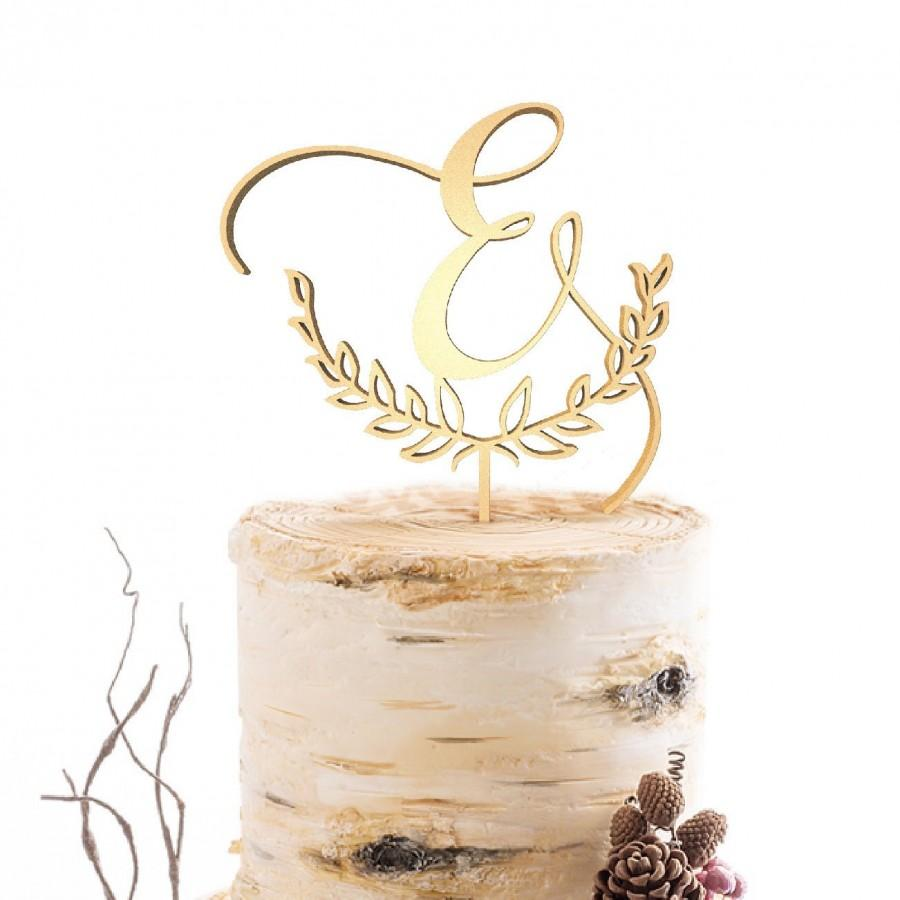 Wedding - Letter Monogram Cake Topper Wedding Cake Topper  Custom Rustic Wedding Cake Topper Single Initial Wood Cake Toppers, Gold Letter E