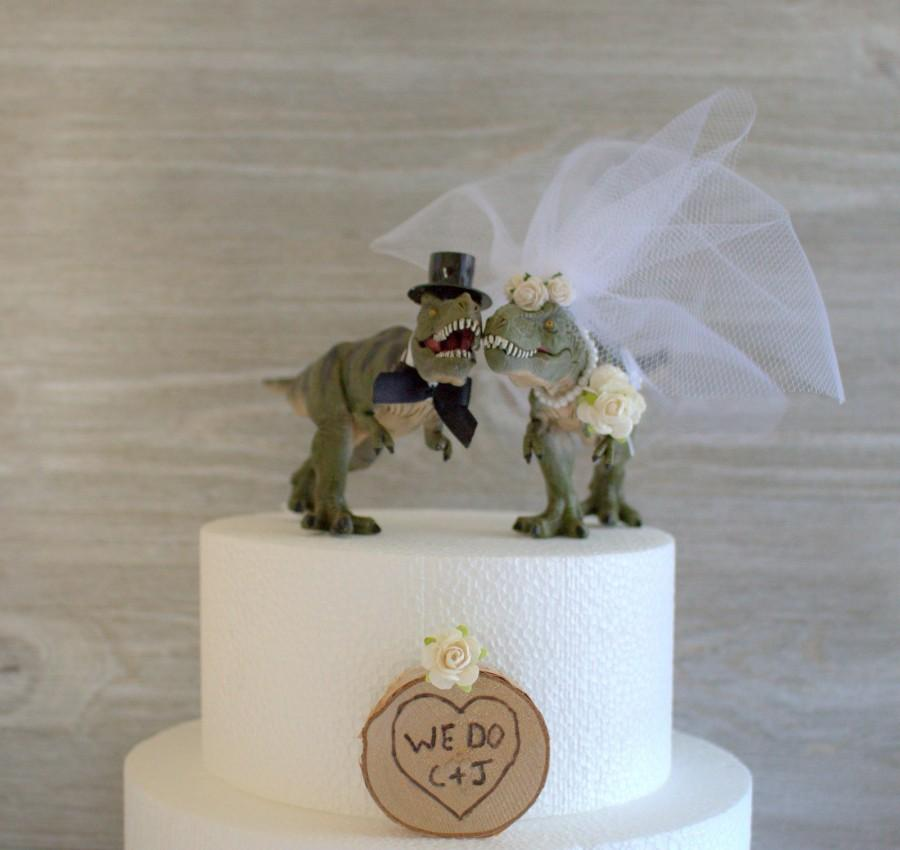 Свадьба - Dinosaur Wedding Cake Topper, Prehistoric, Funny Wedding Cake, T-Rex, Jurassic Cake Topper, Animal, Dinosaurs