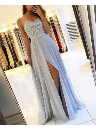 Wedding - Sexy Silber Abendkleider Lang Chiffon