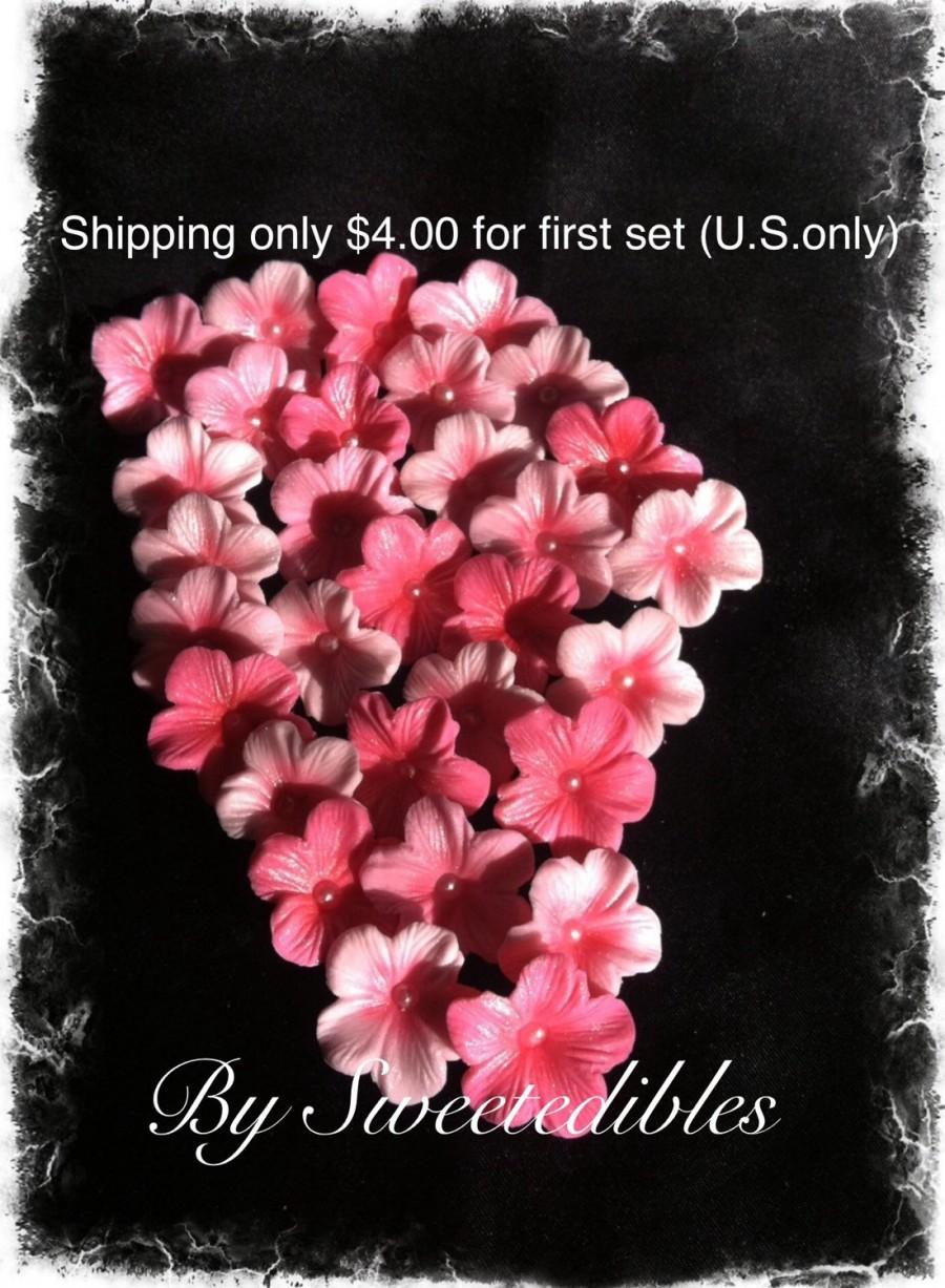 Wedding - Cake Decorations Different Shades of Pink  Cherry Blossoms 25 piece