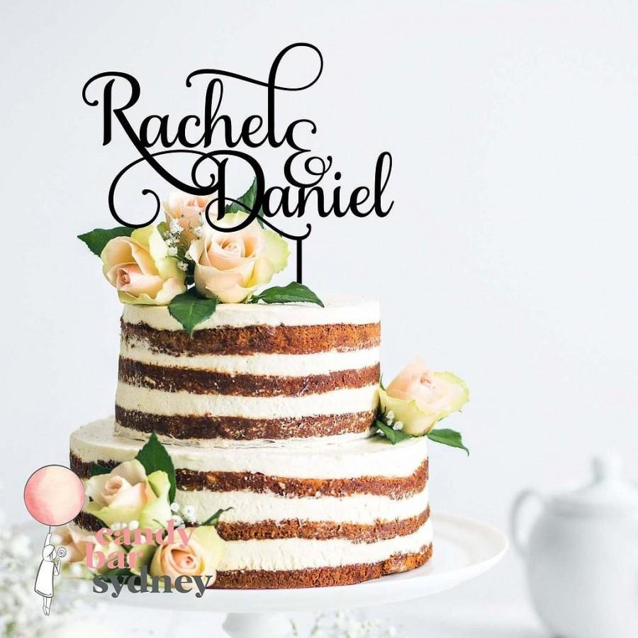 Hochzeit - Custom Couple Names Wedding Cake Topper Style 2 - Custom Cake Toppers - Rose Gold Cake Toppers
