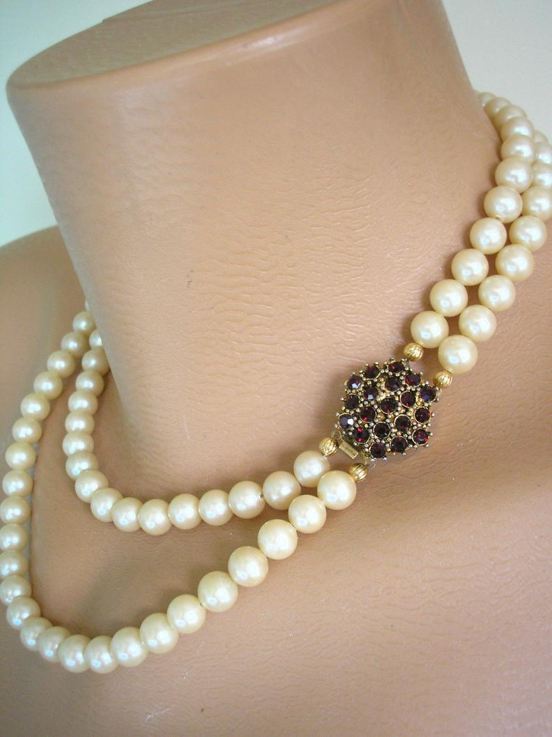 Hochzeit - Vintage Bridal Pearls, Pearl Choker, Pearl And Garnet, Side Clasp, Cream Pearls, 2 Strand, Deco Style, Dark Ruby Rhinestone, Vintage Wedding