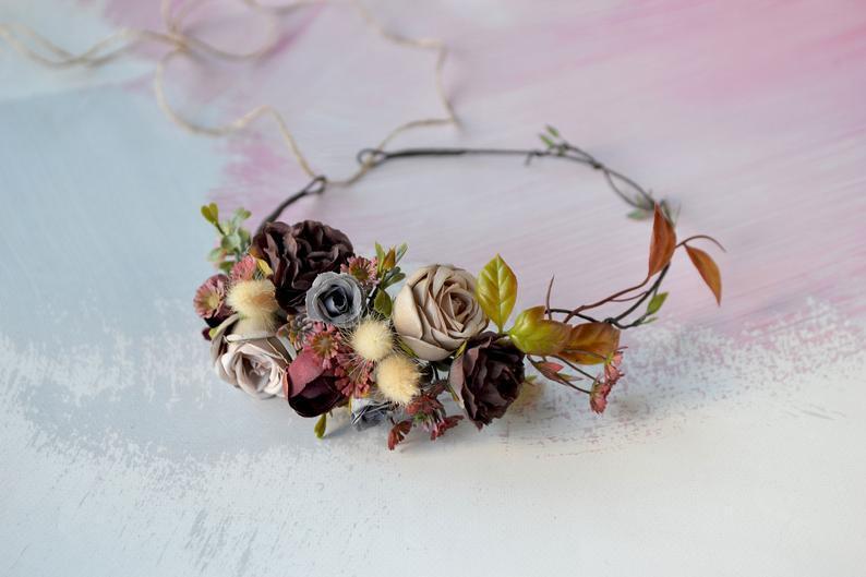 Hochzeit - Boho flower crown Woodland wedding crown Beige marsala Floral crown Bride hairband Autumn flower crown maroon beige headband