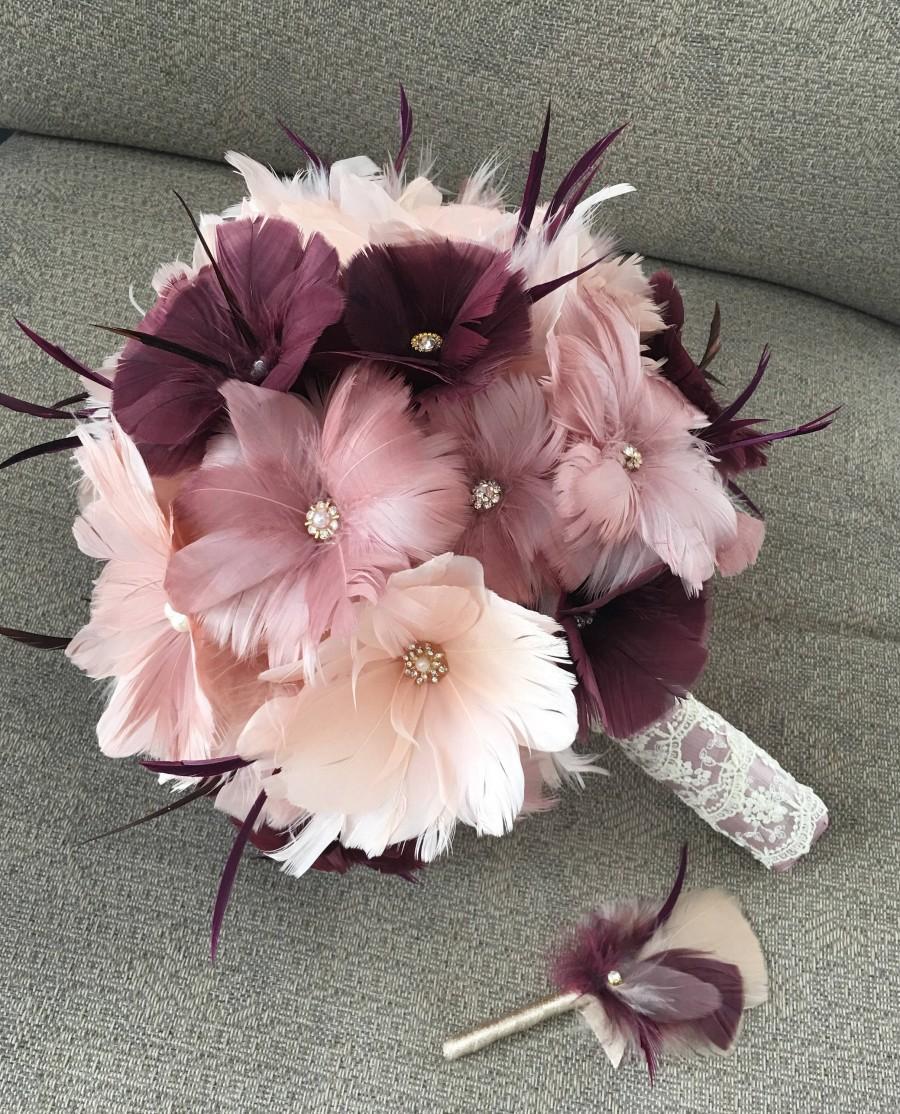 Свадьба - Bridal bouquet,Wedding accessory,Brooch bouquet,Wedding bouquet,Feather bouquet, Gatsby wedding,Alternative bouquet,YOUR CHOICE COLOR