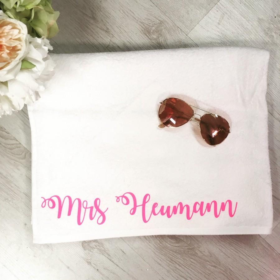 Hochzeit - Personalised Large Towels, Bride and Groom, Honeymoon, Mr & Mrs, Beach