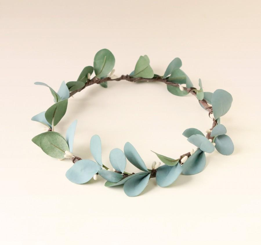 e482dd7bf78 Rustic eucalyptus crown, Eucalyptus bridal wreath, Artificial eucalyptus  crown, Simple bridal hair, Boho bridal crown, Green blue leaf crown