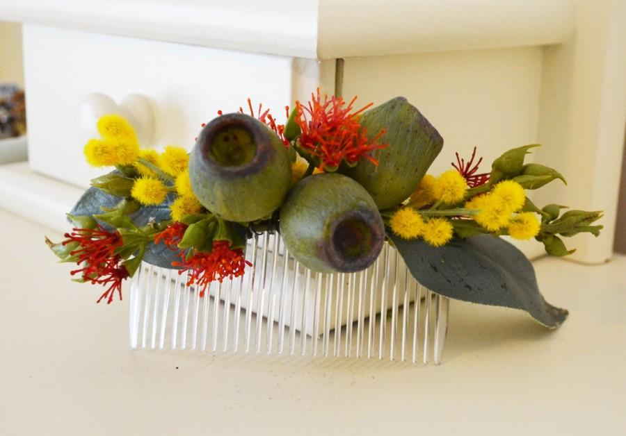 Mariage - rustic wedding comb - native - wedding flower comb - red - sage - yellow - bridal accessories - personalised gift - flower accessories
