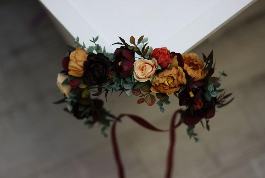 Mariage - Burgundy burnt orange floral crown Rust floral wreath Wedding headpiece Burgundy wedding Bridal hairpiece  Bridesmaid crown Maternity crown