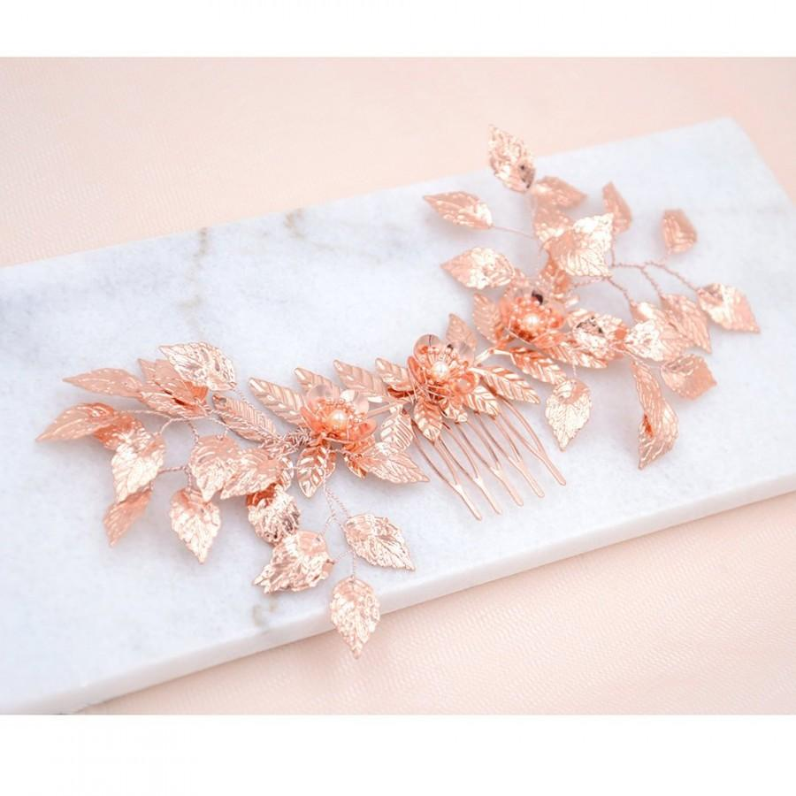Mariage - Bridal Haircomb, golden, Wedding, Maya, Bridal Hair Accessories, Leaf Haircomb, boho Haircomb, Bridal Head Piece, rose gold leaf headpiece