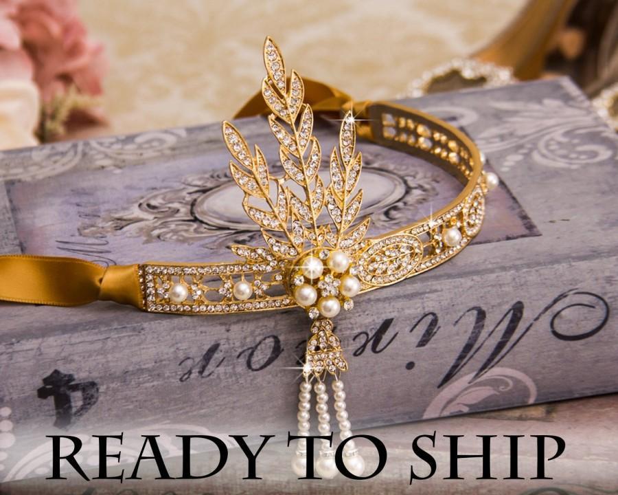 Mariage - Gold Flapper Headband Great Gatsby Headband Daisy Buchanan Costume Great Gatsby Costume 1920's Headband Wedding Headband Bridal Headpiece