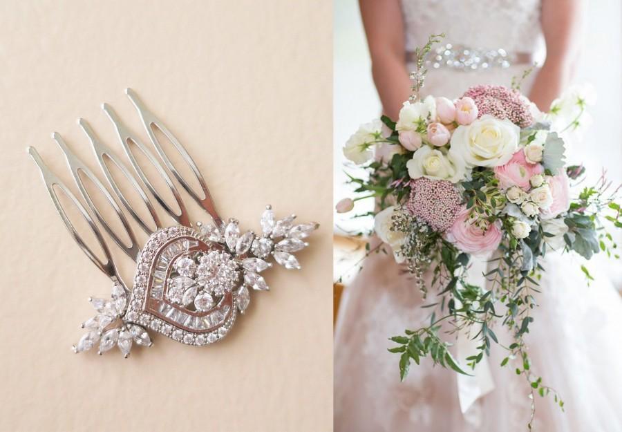 Mariage - Bridal Hair Pins, Small Bridal Comb Art Deco, Crystal Headpiece Wedding Hair Accessories flower leaf cubic zirconia hair piece Rose Gold MIA