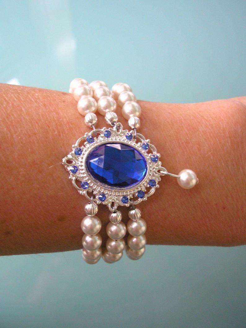 Wedding - Indian Bridal Bracelet, Swarovski Pearl, Pearl Bracelet, Bridal Bracelet, Emerald, Opal, Sapphire, Ruby, Fuschia, White Pearls, Cream Pearls