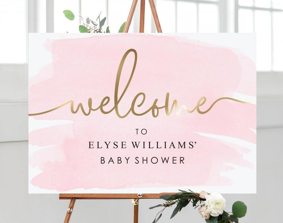 Wedding - Pink and Gold Welcome Sign - Bridal Shower Welcome Sign - Printable Wedding Welcome Sign - Baby Shower Sign - Engagement Sign - Gold Foil