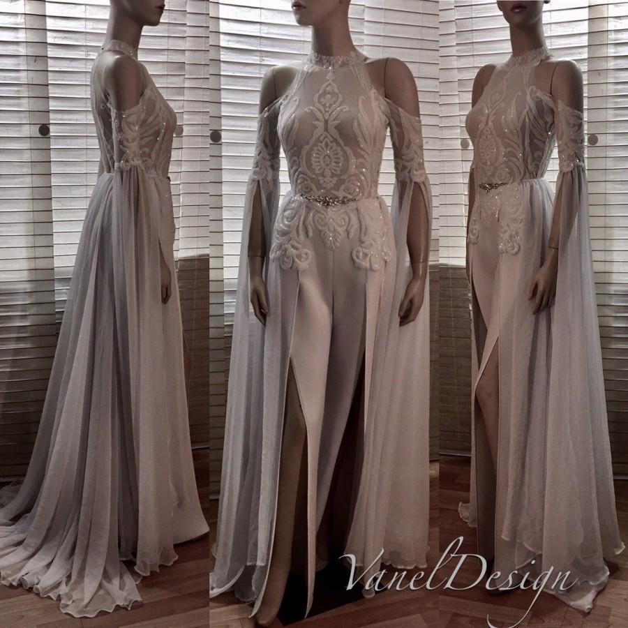 Wedding - Jumpsuit Wedding Dress Bridal Bridesmaid Prom Bodysuit Detachable Chiffon Skirt Formal Sequins Lace Reception Long Sleeves Floor Length