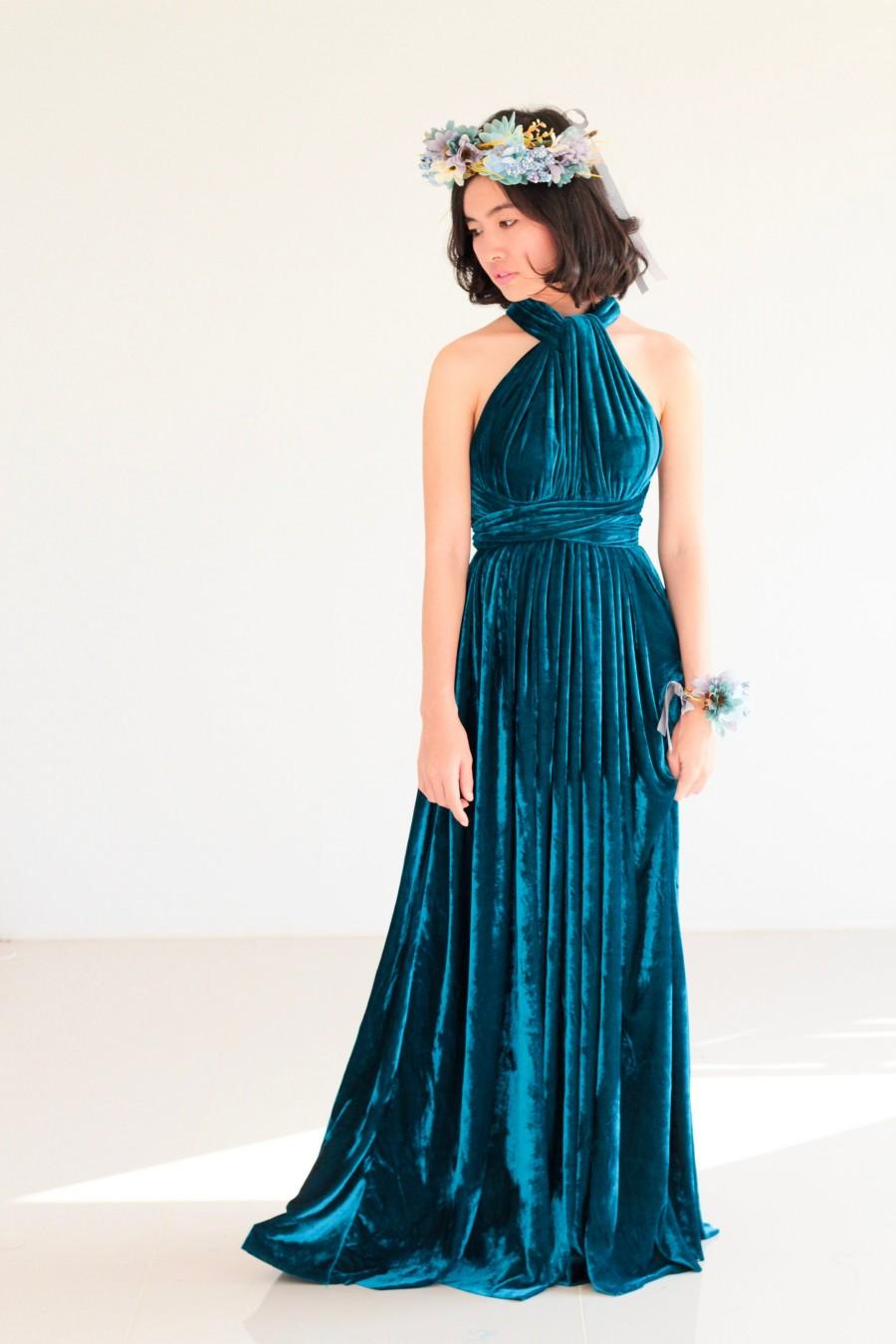 Wedding - Teal Blue Velvet Bridesmaid Dress maternity infinity Dress Prom Dress Convertible Dress Wrap Dress