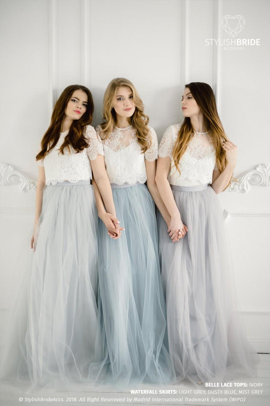Wedding - Grey Blue Palette Bridesmaids Belle Lace Dress, Long Grey Dusty Blue Waterfall Bridesmaids Skirt , Grey Engagement Prom Dresses Plus Size
