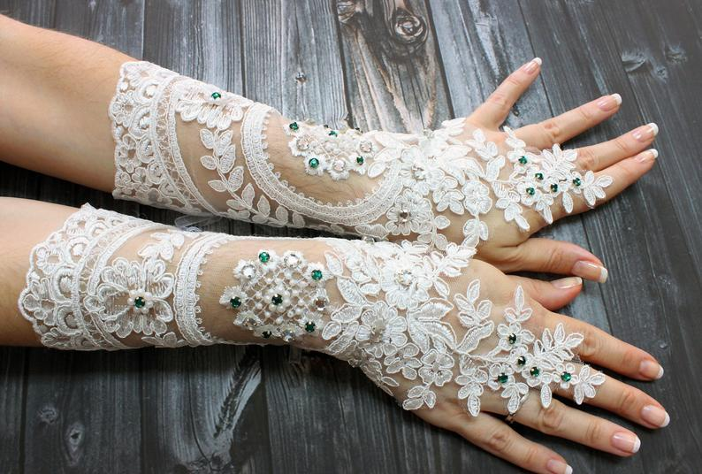 Wedding - White beaded long lace wedding gloves, shiny emerald green beads french lace opera gloves, bridal wedding accessories