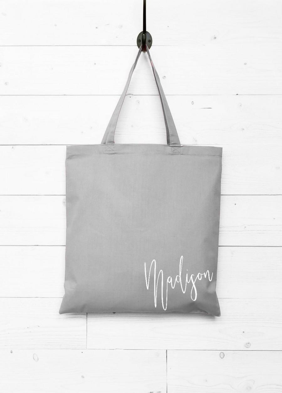 Bridesmaid Thank You Gift Bag Canvas Tote Grey