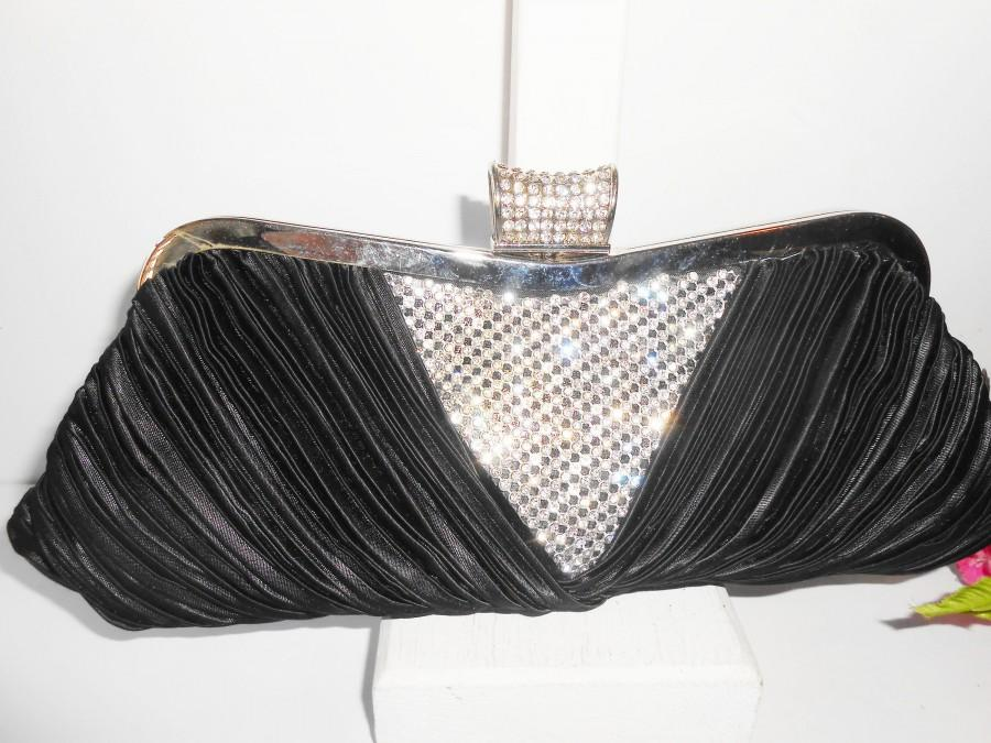 Свадьба - Vintage Black Evening Bag Rhinestone Trim, Glamorous Black Clutch Handbag EB-0235