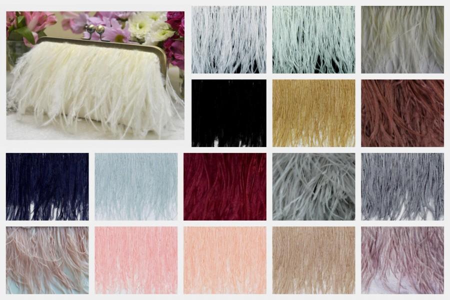 زفاف - FEATHER FRINGE CLUTCH<> Ostrich Feather Fringe Clutch, White Wedding Purse, Ivory Bridal Clutch, Blush Wedding Purse, Champagne Clutch