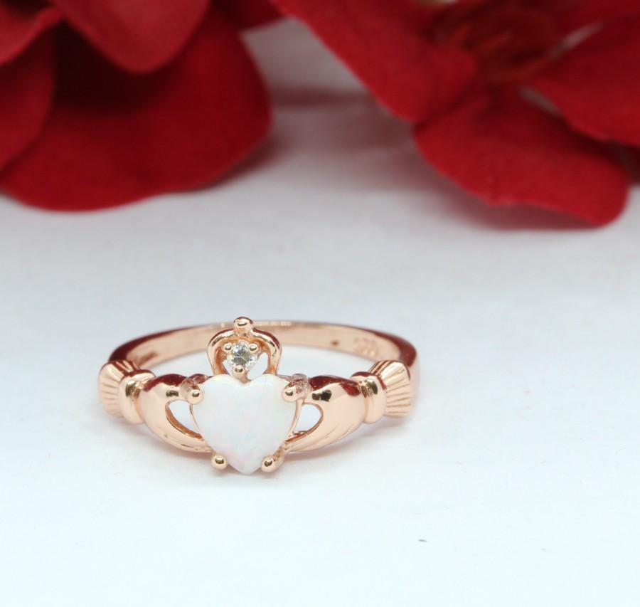 زفاف - Rose Gold Claddagh Ring Irish Promise Ring Heart White Opal Round Simulated Diamond Solid 925 STerling Silver