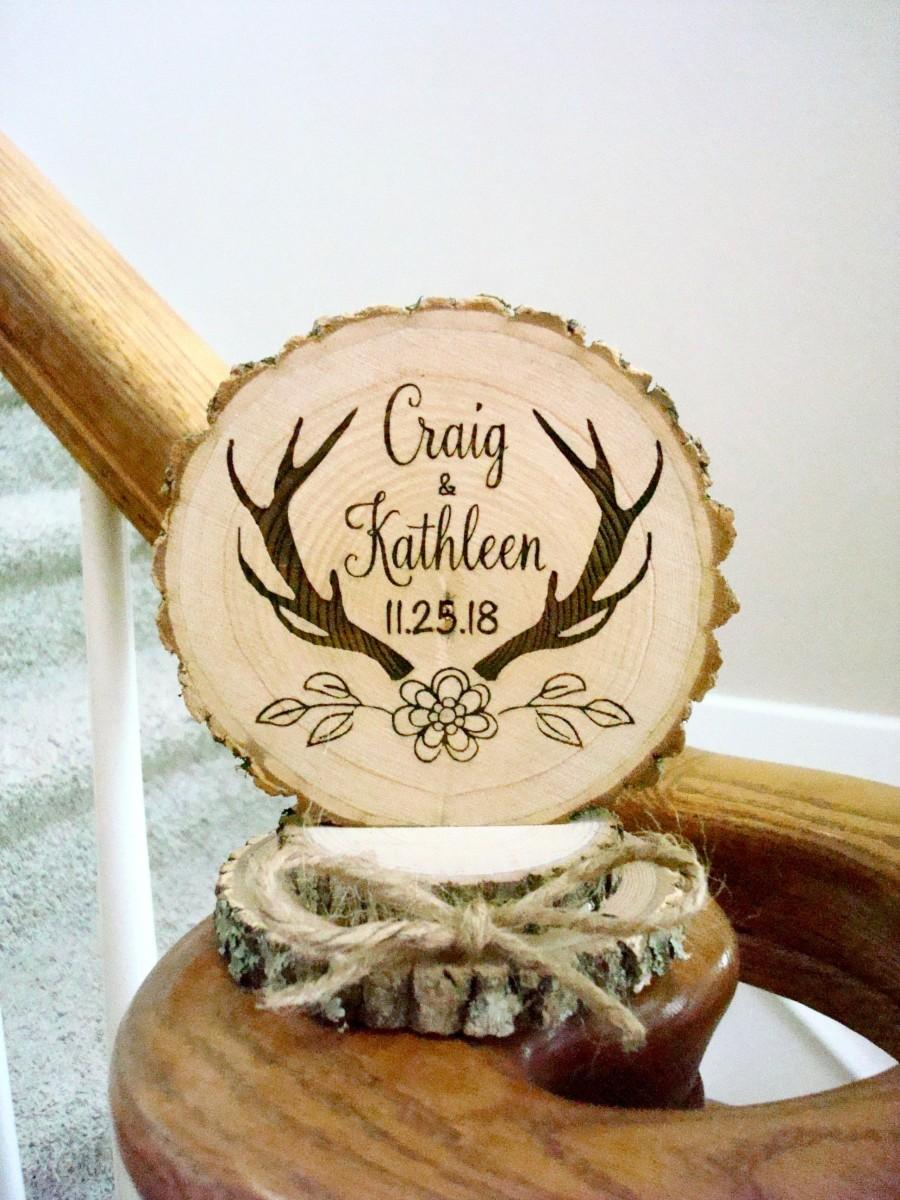 Wedding - Rustic Antler Wedding Cake Topper, Personalized Cake Top, Engraved Wedding Decor, Wedding Keepsake