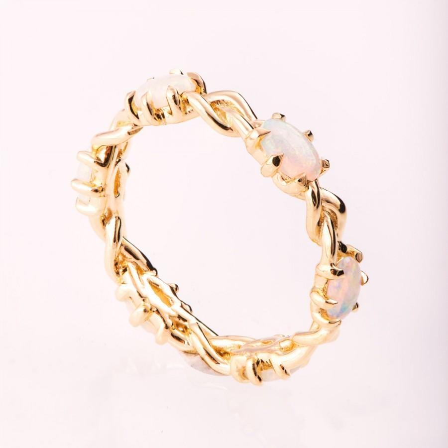 زفاف - Opal engagement ring, Opal Eternity ring, Opal Jewelry, Braided Opal ring, Australian Opal Ring, Celtic Opal ring, eternity Opal Ring