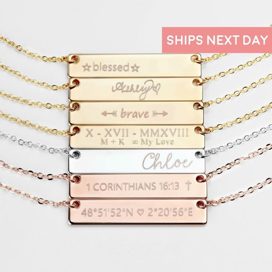 زفاف - Personalized Bar Necklace for Mom Personalized Jewelry Name Necklace for Women Personalized Gift Jewelry Feminist - 4N