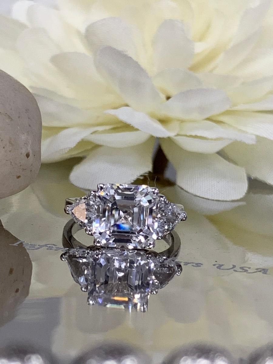 زفاف - Asscher cut white sapphire engagement ring, wedding ring with trillion accents 4.00 ctw 14k White Gold #5484