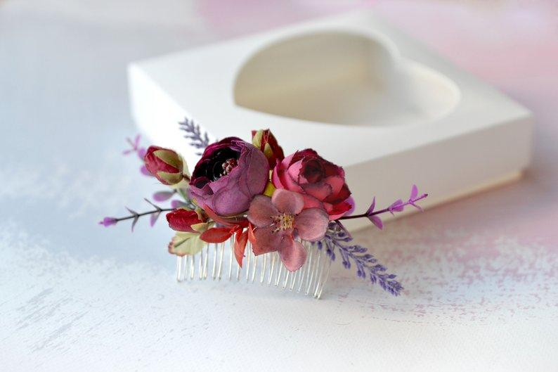Mariage - Purple Flower hair comb Floral headpiece wedding flower comb Hair flowers Bride hair piece Cherry blossom comb lavender